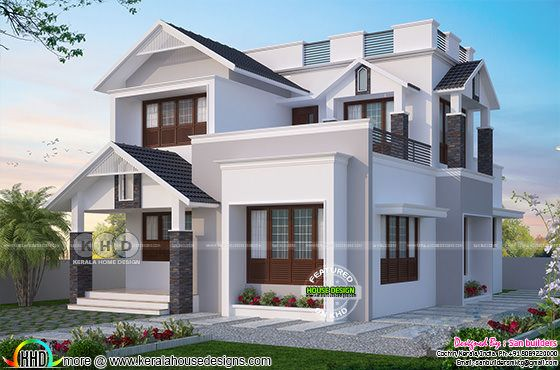 1596 square feet 4 bedroom modern sloped roof house
