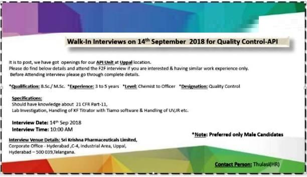 Sri Krishna Pharmaceuticals Ltd Walk In Interviews for Quality Control at 14 Sep