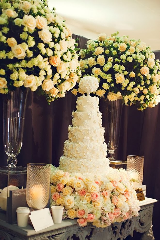 Fabulous Wedding Cake Table Ideas Using Flowers - Belle The Magazine