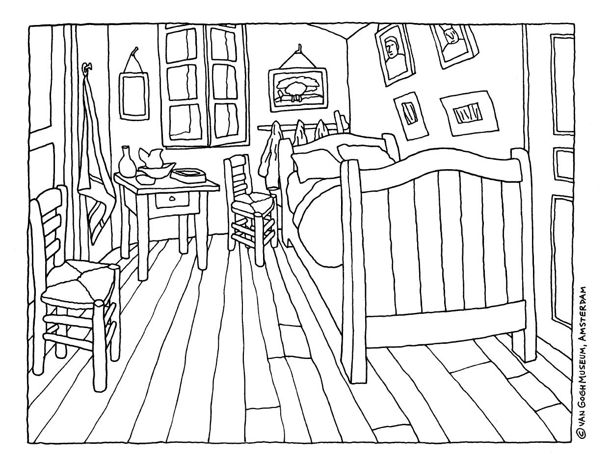 Pintura de Van Gogh para colorir