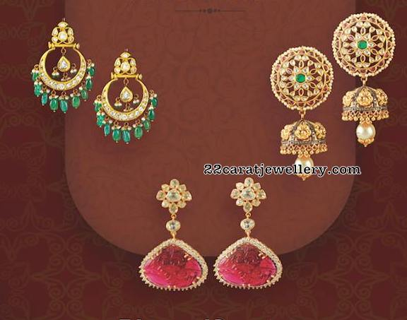 Polki and Diamond Earrings by Krishna Jewellers