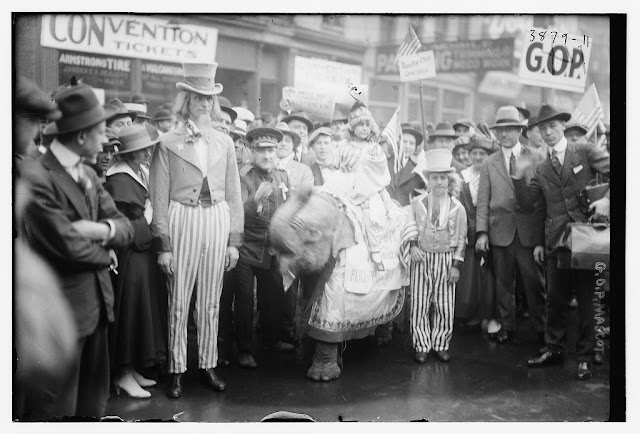 1916 Chicago RNC Baby Elephant and Uncle Sams