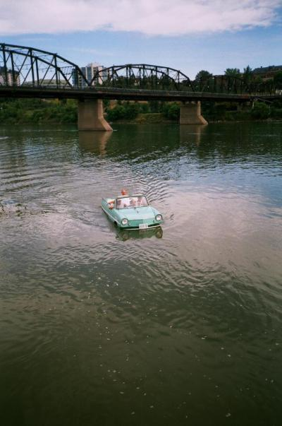 This Amphicar was photographed in Saskatoon on the South Saskatchewan River