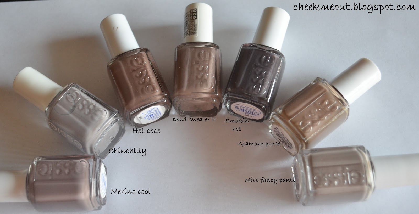 Essie Color Comparison Taupe Mauve Gray Beige