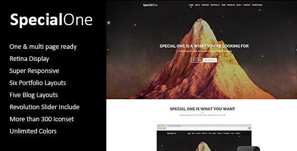 SpecialOne - Multipurpose One Page Template