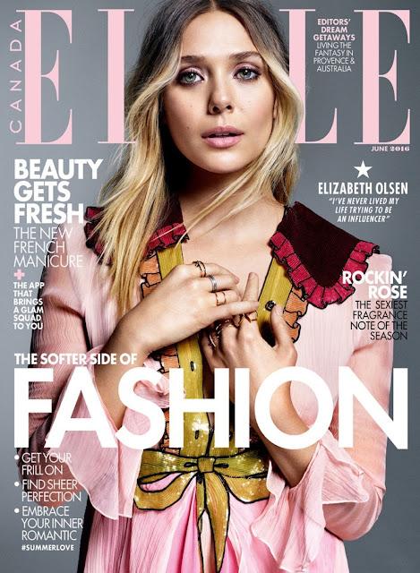 Actress, @ Elizabeth Olsen - Elle Canada June, 2016