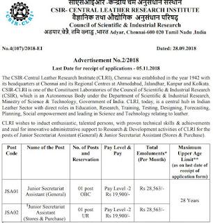 junior-secretariat-asst-post-recruitment-notification-clri-adyar-chennai