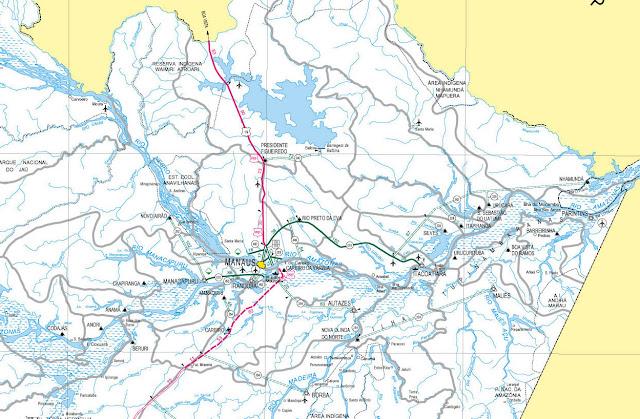 Mapa região Presidente Figueiredo, Nordeste do Amazonas