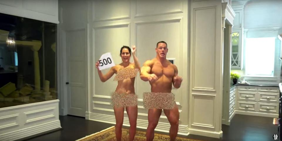 WWE star Nikki Bella strips to celebrate 500,000 YouTube subscribers with John Cena2