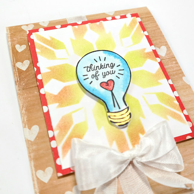 Stamped and Stenciled Thinking of You Lightbulb Card with Hearts