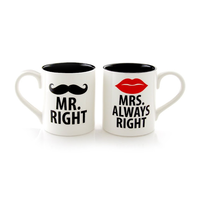 Mr. and Mrs.Always Right Stoneware Couple Coffee Mug Set