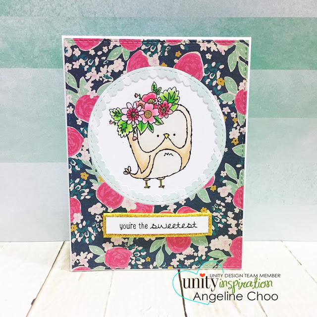 Unity Stamp Company: SOTW Springtime Owl #unitystampco #scrappyscrappy #sotw #stamping #stamp #card #cardmaking #papercraft #katscrappiness #copic #coloring #cratepaper #owl #diecut