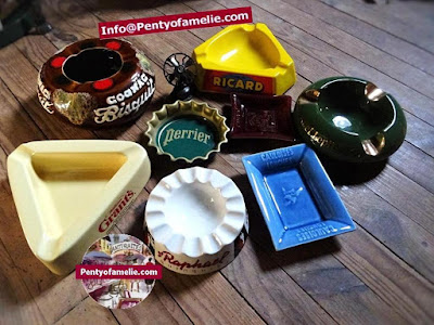 French vintage collectable brand Perrier Ricard smoking ashtrays made in France