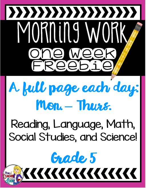 Classroom Freebies Too: Morning Work for 5th Graders: Free Week