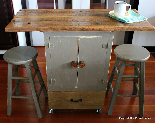 kitchen island, coffee bar, repurposed, upcycled, storage, rolling cart, https://goo.gl/GTqvzh