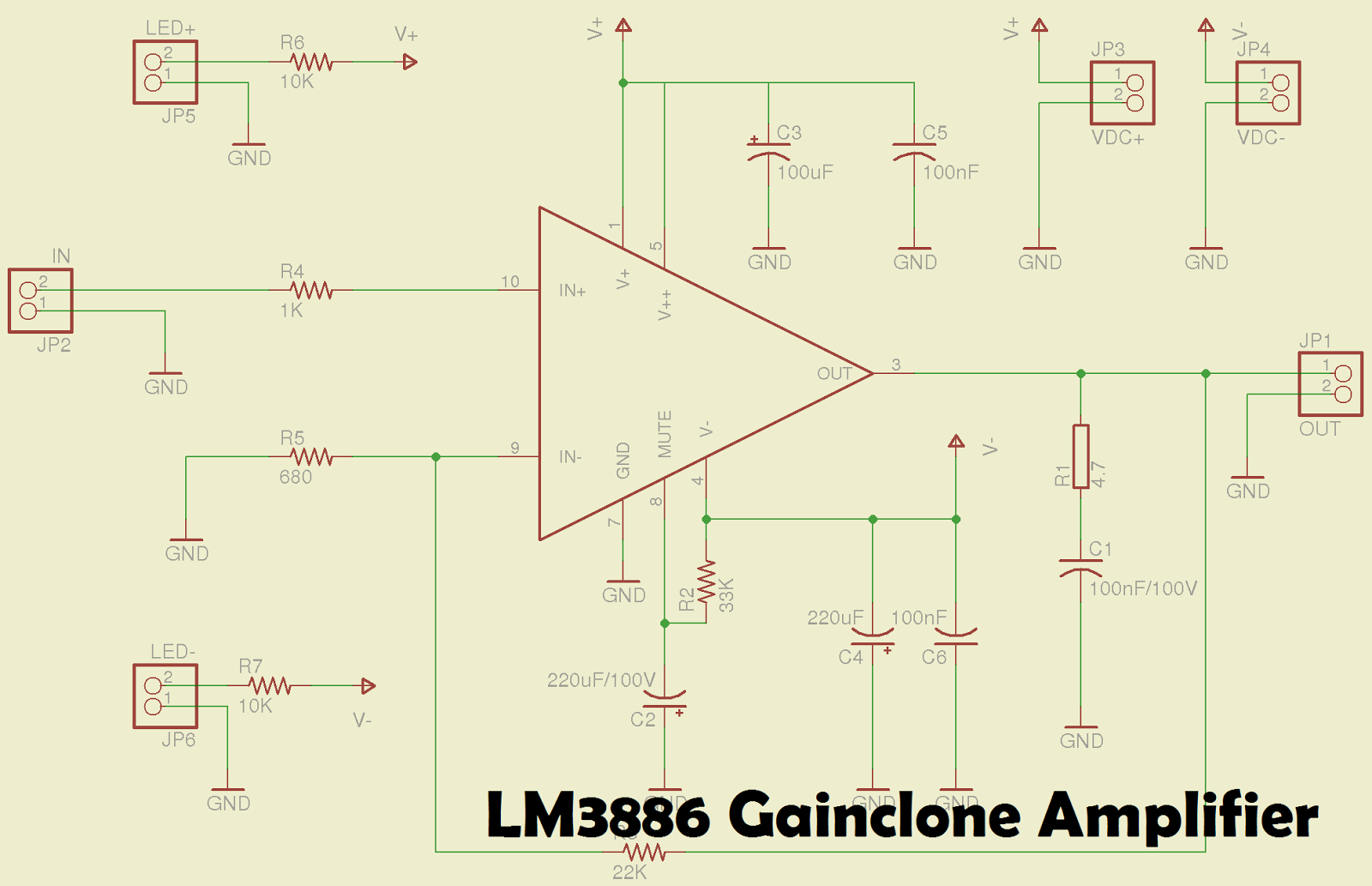 hight resolution of lm3886 gainclone power amplifier