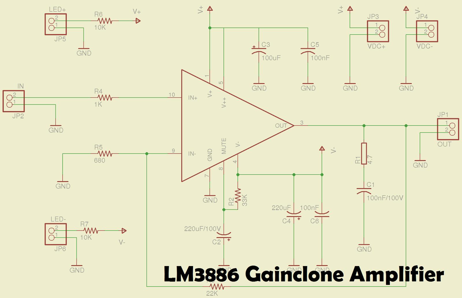 medium resolution of lm3886 gainclone power amplifier