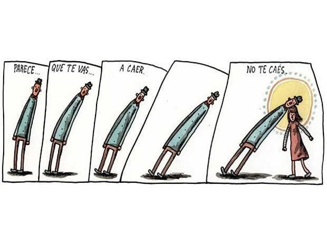 Tira de Liniers: Parece...que te vas...a caer...no te caés