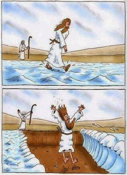 Moses plays joke on Jesus who is walking on water by parting the sea cartoon