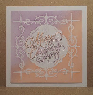 Stencilled Christmas card, purple and orange with Merry Christmas sentiment