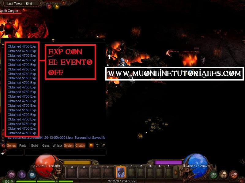 Visualizando la experiencia dentro del juego con el evento off