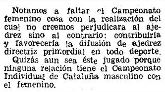 VII campeonato femenino de ajedrez de Cataluña 1944, Mundo Deportivo, 12/1/1944