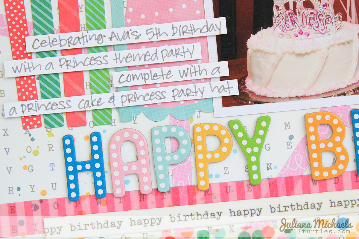 Happy Birthday Scrapbook Page by Juliana Michaels #pebblesinc #birthday #scrapbookpage