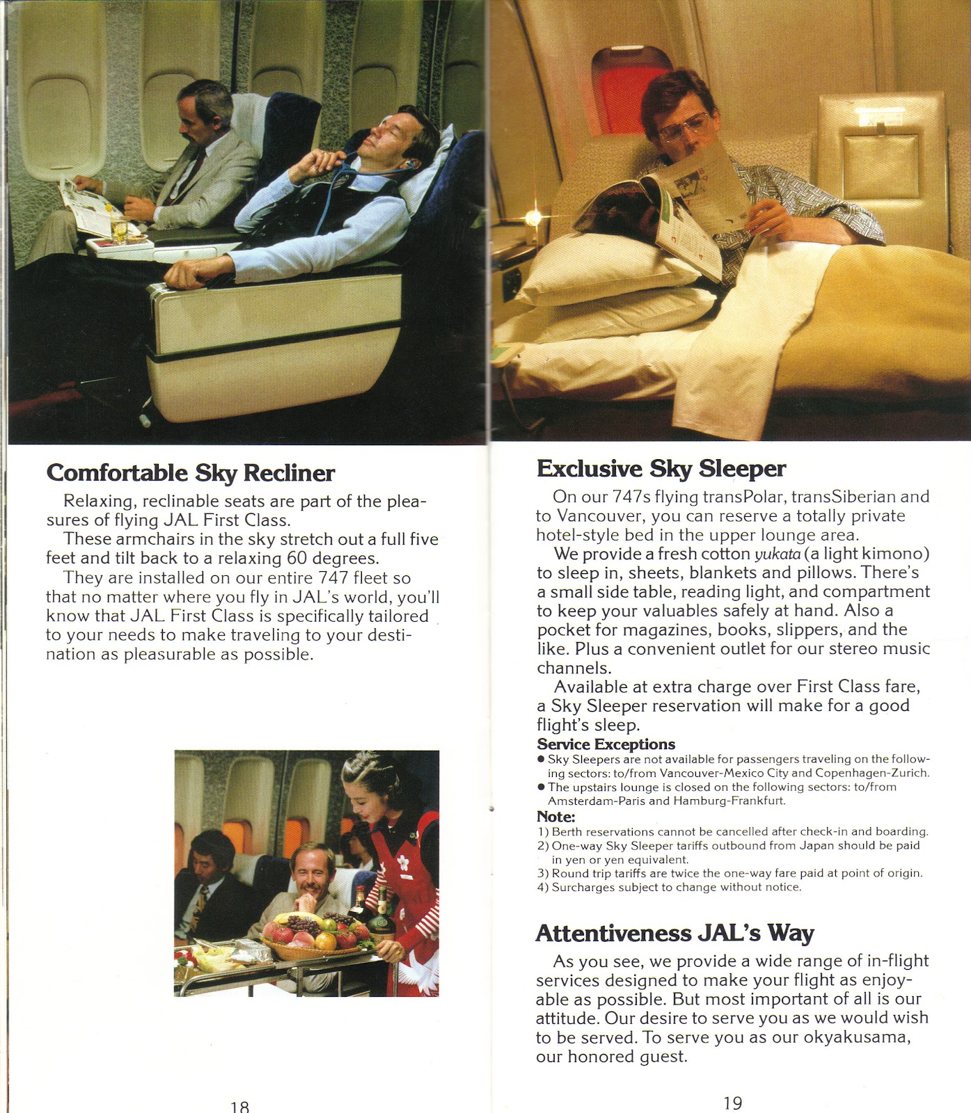 First Class Services First In Class: Airlines Past & Present: Japan Airlines Inflight Service