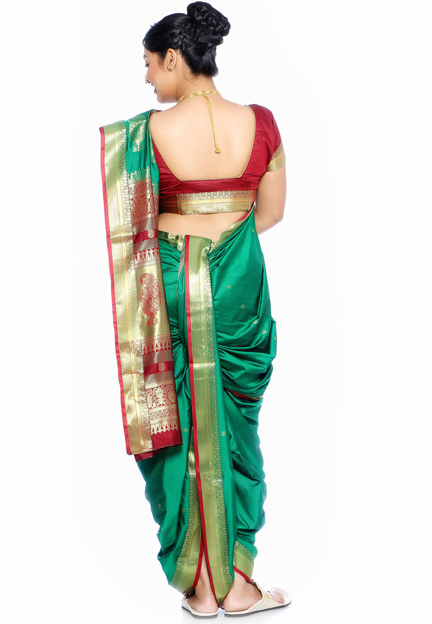 Saree Market Maharashtrian Marathi Nauvari Saree Green Colour