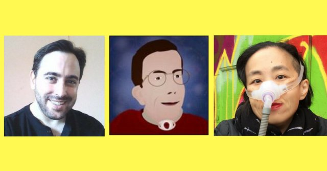 Profile photos of three people, two white men and one Asian woman, with a bright yellow background