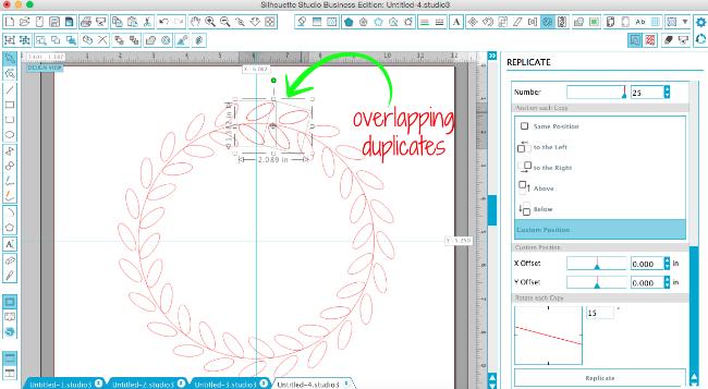 silhouette studio sketched wreath frame design