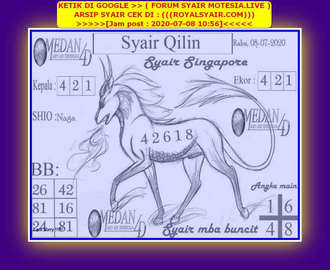 Kode syair Singapore Rabu 8 Juli 2020 153