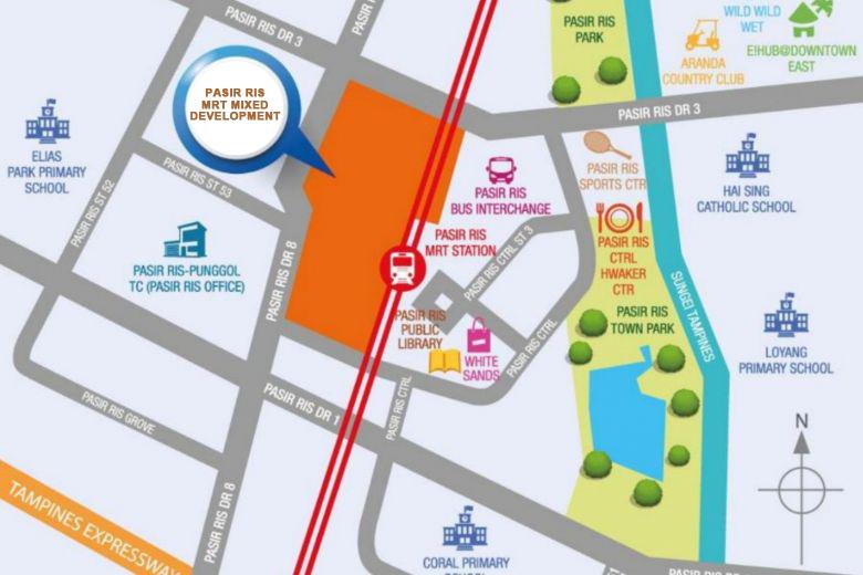 Pasir Ris MRT Mixed Development Location Map
