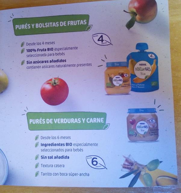 Pures de verduras y carnes Naturnes bio Nestle