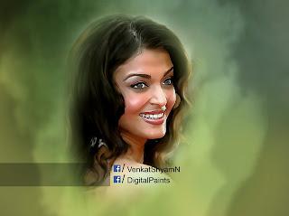 #Bollywood #AishwaryaRai #DigitalPainting By Venkat Shyam N Digital Paintings - Digital Works #Hyderabad