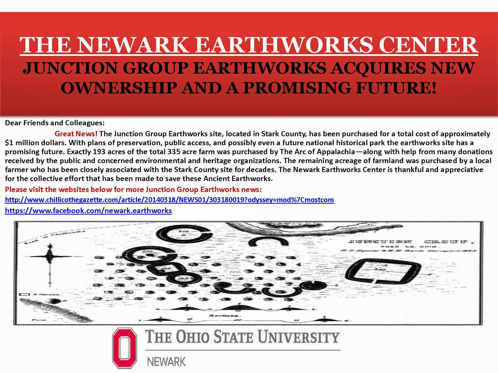 The Newark Earthworks Center Junction Group Earthworks News Announcement