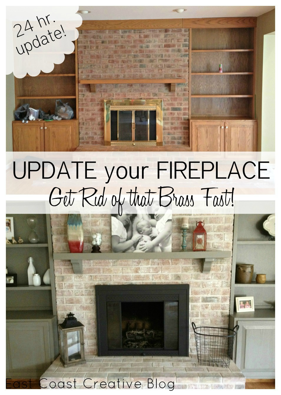 Update Old Brick Fireplace Brass Fireplace Update