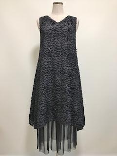 アシンメトリーヘムカットジャガードドレス(ブラック)【17-383214】