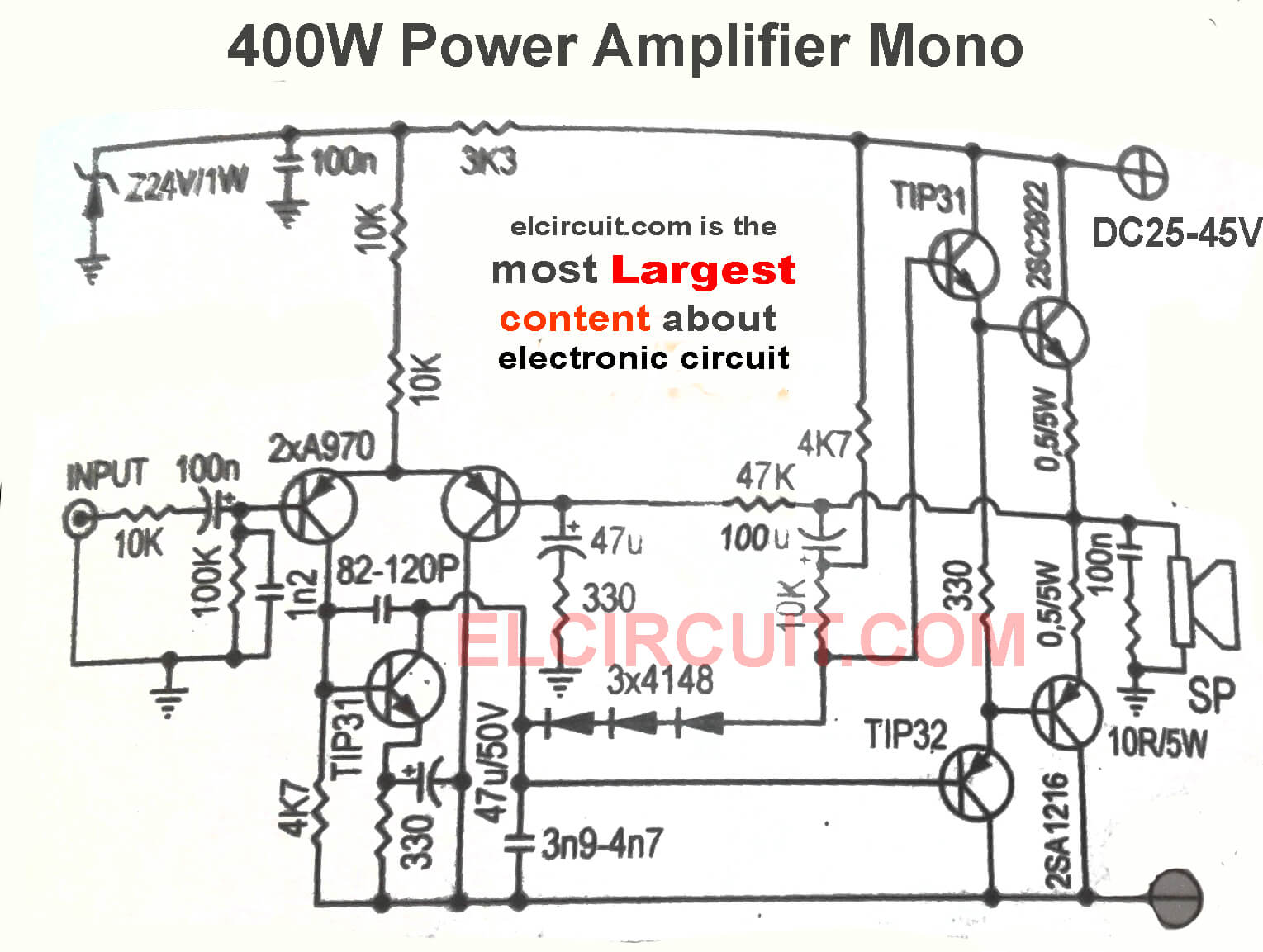 400w and 800w power amplifier circuit