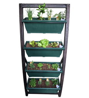 Vertical Garden by Outland Living, with 4 Self-Watering Bins for Indoor/Outdoor Use