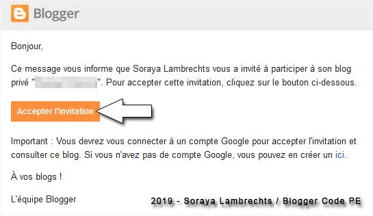 L'invitation reçue par email.