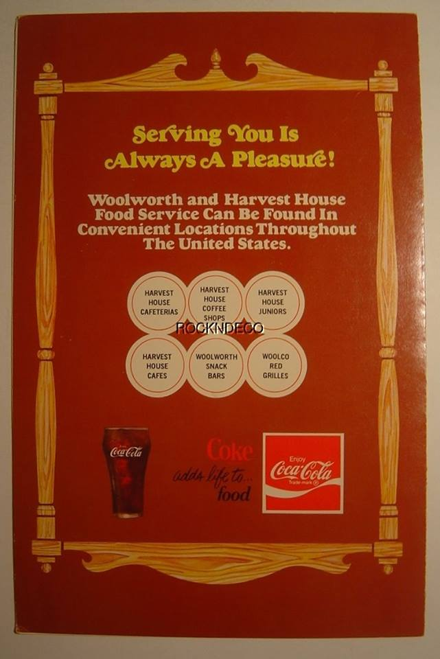 Trip to the Mall: FIND: Woolworth (Harvest House) Menu