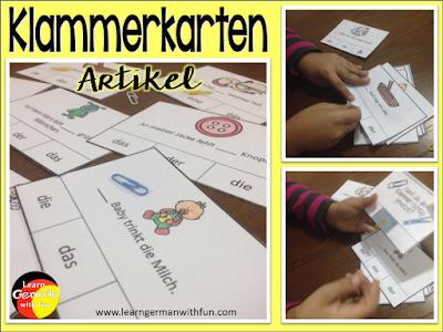 Klammerkarten zum üben der Deutschen Artikel für Grundschule oder DaF-Unterricht mit Kindern