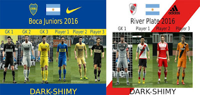 Updates kits River plate y Boca Juniors 2016-17 Pes 2013
