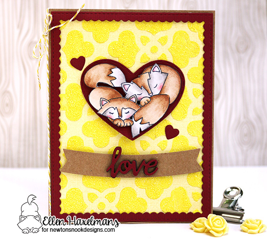 Fox Love Card  by Ellen Haxelmans | Woodland Duos stamp set by Newton's Nook Designs #newtonsnook