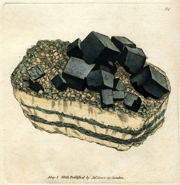 PLUMBUM Galaena. Sulphure of Lead; Galena. Plate no. 24. From: Sowerby, James. 1802-1817. British Mineralogy: Or Coloured figures intended to elucidate the mineralogy of Great Britain. Plate from vol: 1. page no.55. Modern name: Galena. Location: Collected found in Derbyshire.