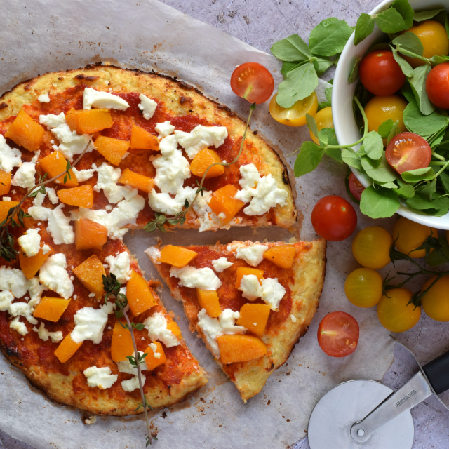 Cauliflower crust pizza recipe with roasted butternut squash, goats' cheese & thyme