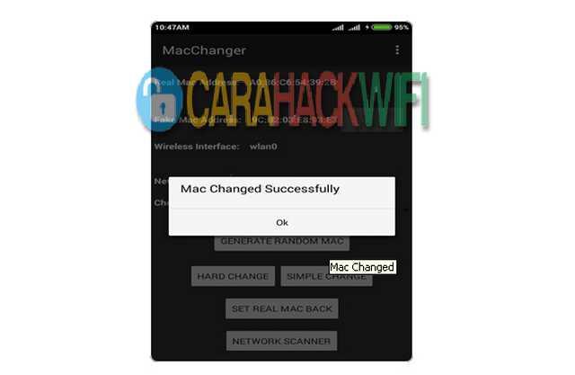 sukses merubah mac address android