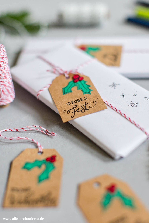 diy weihnachtliche geschenkanh nger mit papier und handlettering alles und anderes. Black Bedroom Furniture Sets. Home Design Ideas