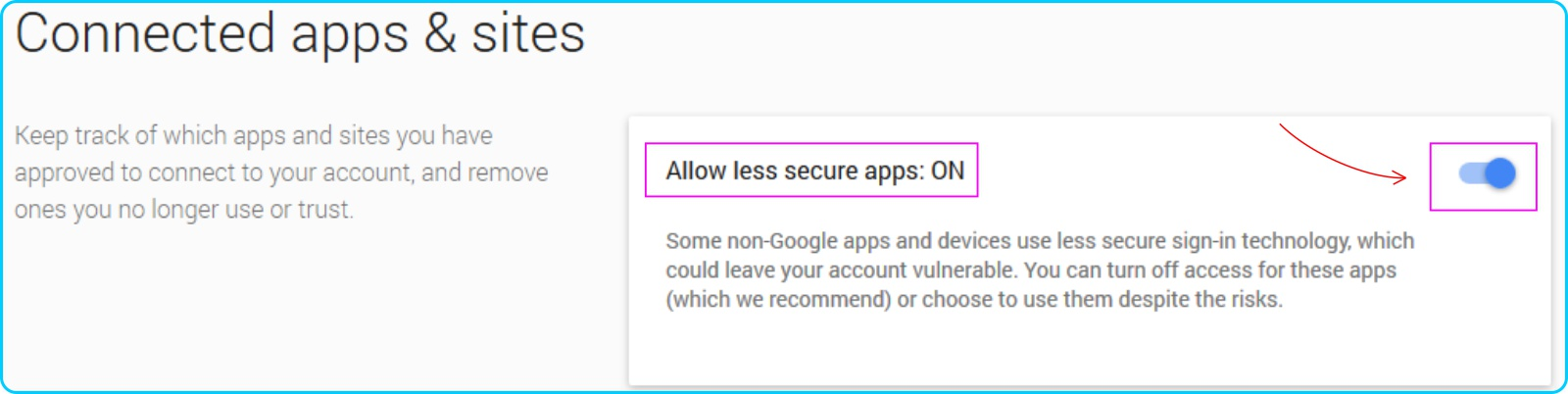POP IMAP GMail - Aktifkan Allow less secure apps